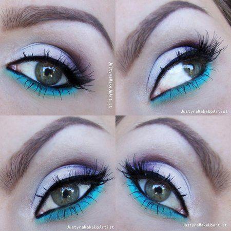 Accent on the lower eyelid - #eyemakeup #blueshadow #purpleshadow #makeup #springmakeup #justynamakeupart - bellashoot.com