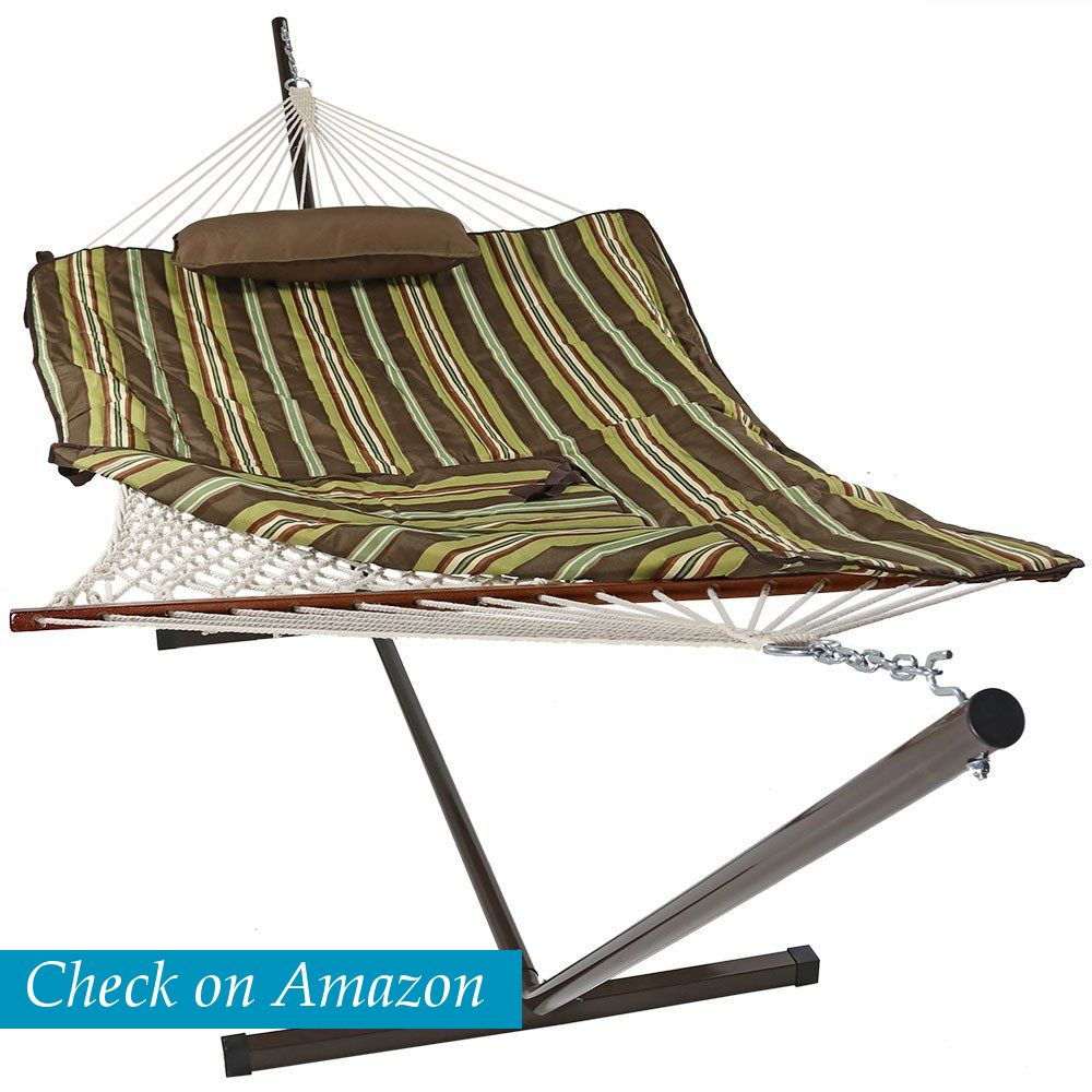 Sunnydaze decor cotton rope hammock with foot steel stand the