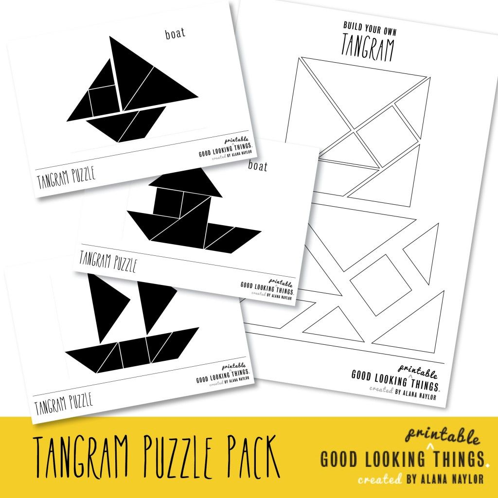 Free Tangram Boat Puzzle Pack Via GoodLookingThings