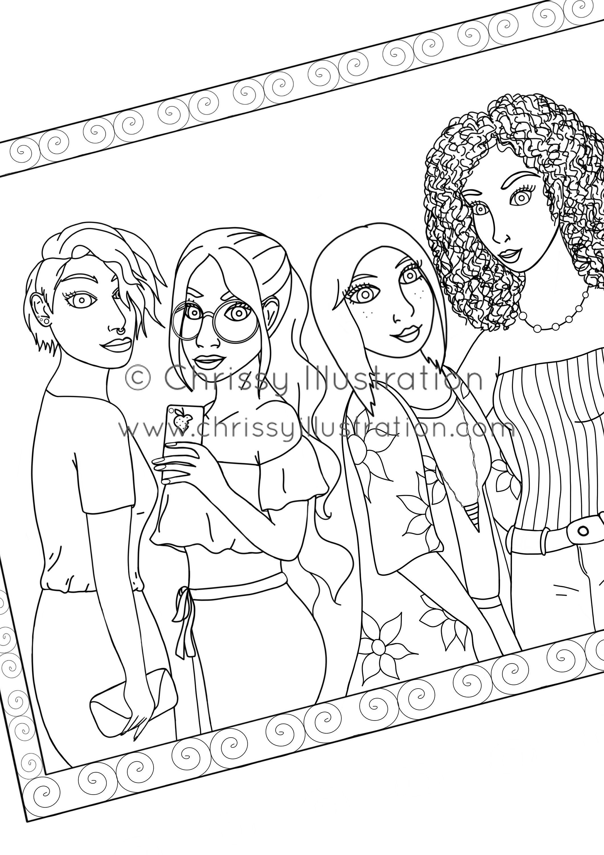 Coloring Page Friends In Frame Cute Coloring Pages Coloring Pages Coloring Supplies
