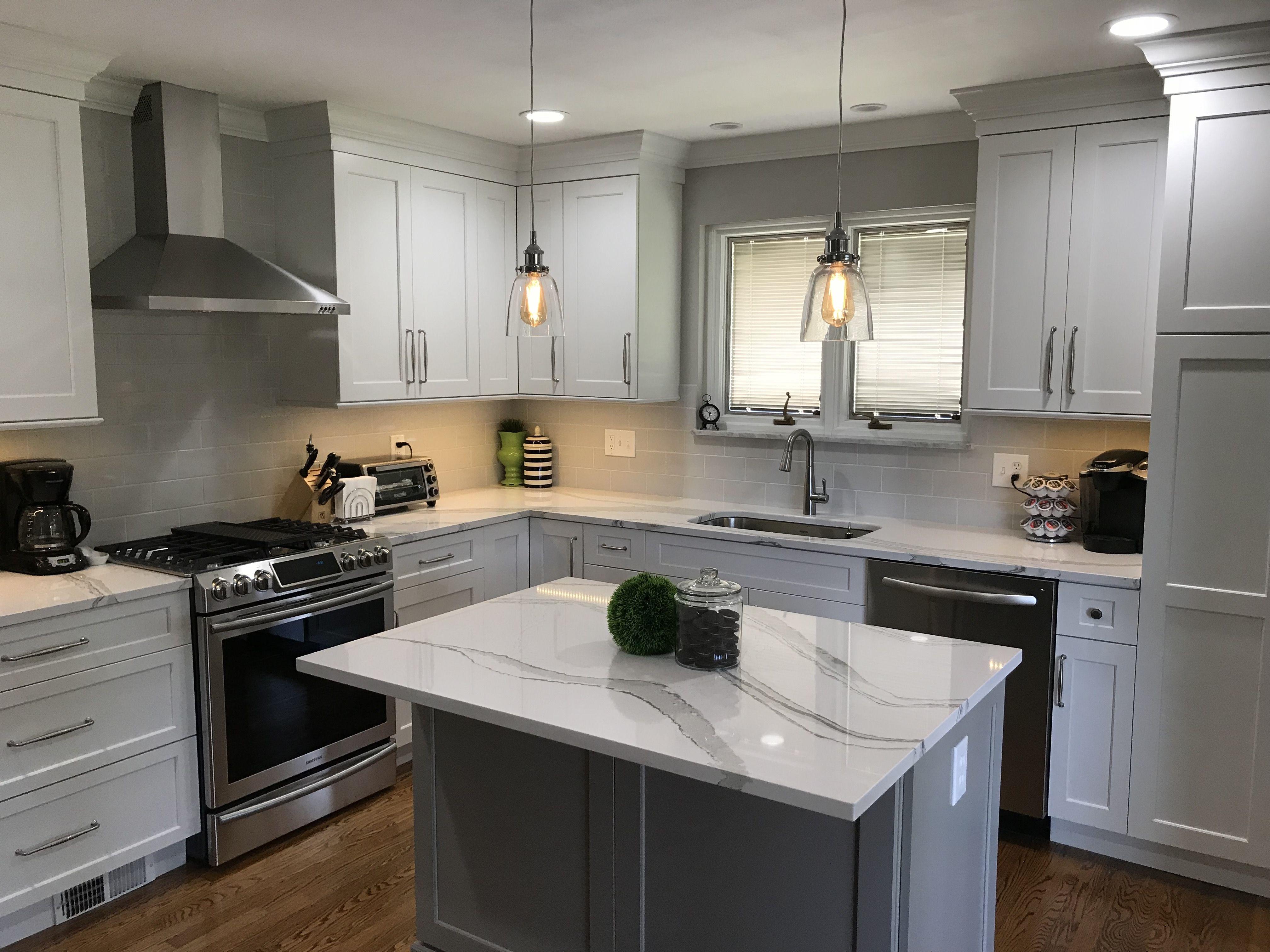 Kitchen Remodel White Cabinets Light Gray Backsplash With Light