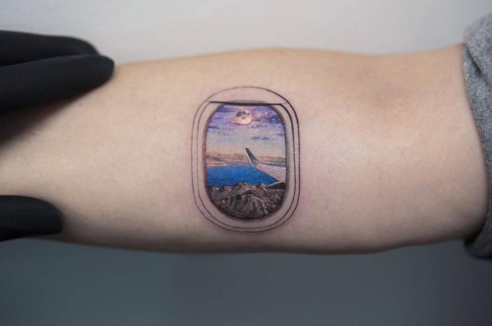 8ce1fc8f1 Airplane window tattoo on the right inner forearm. | Tattoos ...