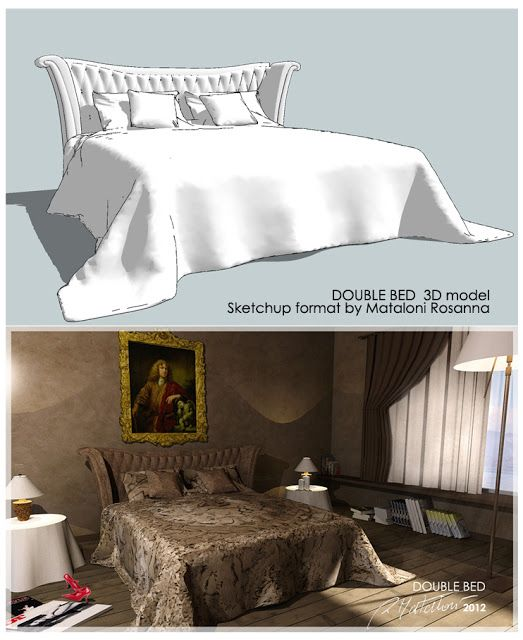SKETCHUP 3D MODEL DOUBLE BED 2