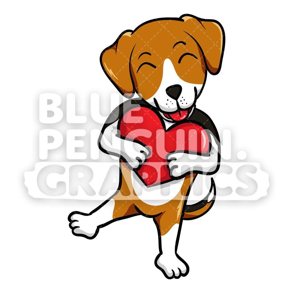 Beagle Dog Holds A Red Heart Vector Clipart Cartoon Dog Artwork