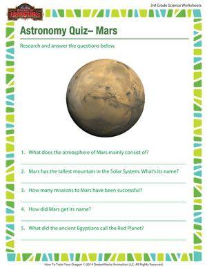 Astronomy Quiz Mars Printable Third Grade Science Worksheets Third Grade Science Worksheets Science Worksheets Third Grade Science