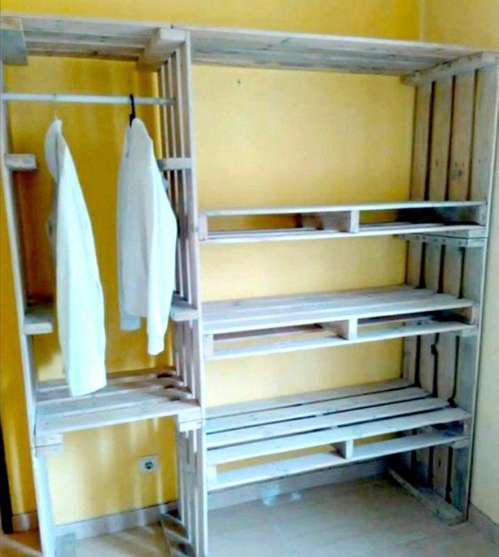 gerderobe aus paletten weiss 3 etagen DIY - Do it yourself