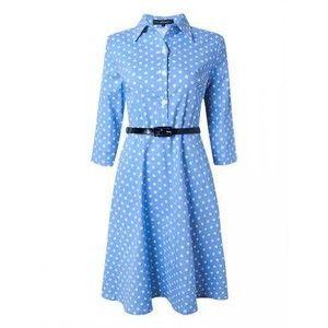 Casual Polka Nine Points Sleeve Lapel Modern Dress