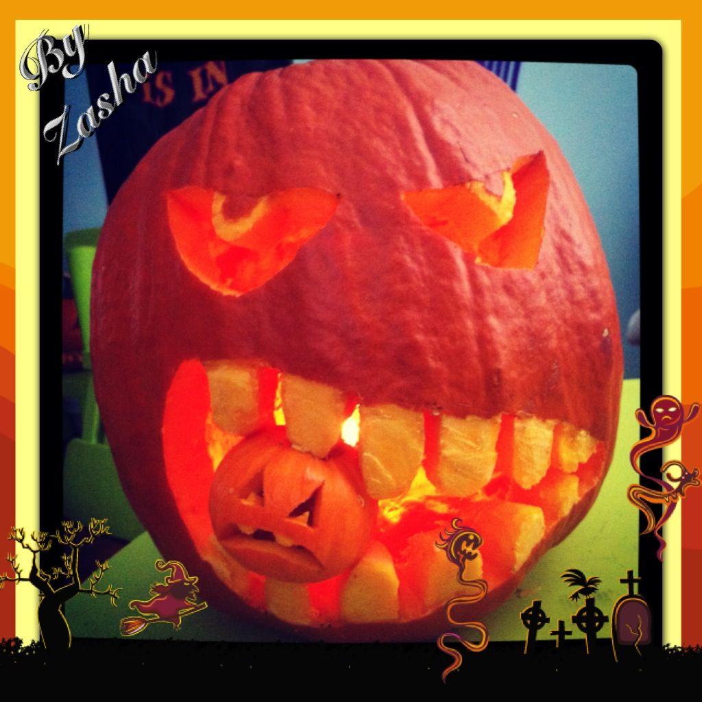 Halloween Pumpkin carving ideas: Big pumpkin eating a little ...
