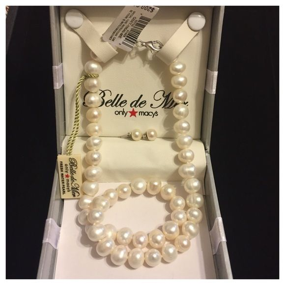 ab2296369 Earring Set · Sterling Silver · NWT Macy's Cultured Pearl Necklace &  Earrings NWT Macy's Bridge Cultured Freshwater Pearl Necklace &