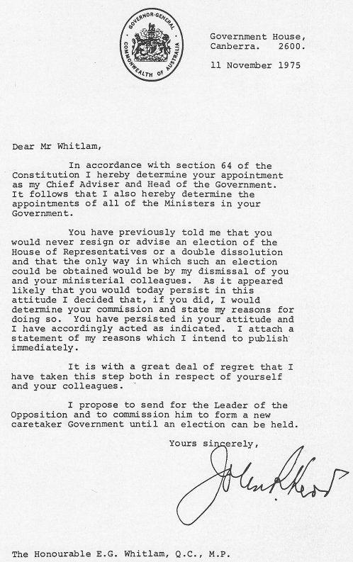 Kerru0027s dismissal letter History 60s - 70s Pinterest - dismissal letter