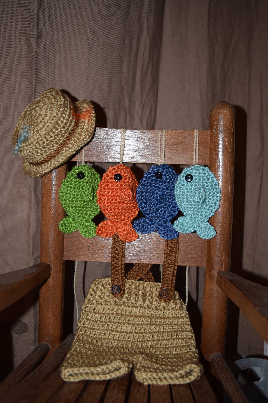 Crochet Newborn Fisherman Outfit Newborn Fisherman Set Baby Photo