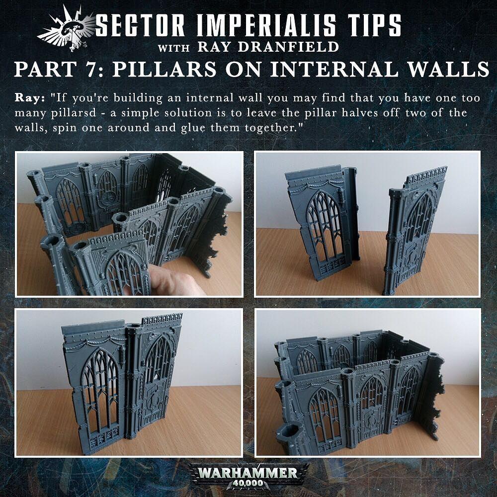 10 EPIC 40k Ruined Building Walls Plastic