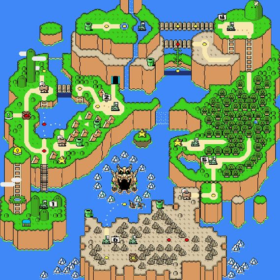 Super Mario World Map Super Mario World Map Cross Stitch Pattern, Overworld, Retro Super