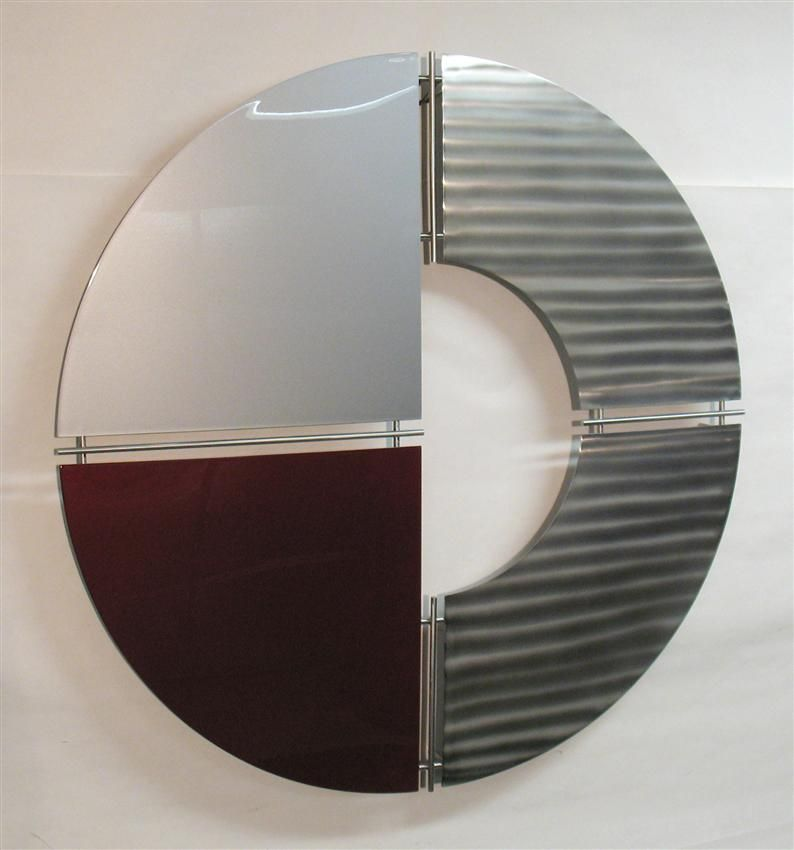 Contemporary metal wall art - silver, burgundy, stainless ...