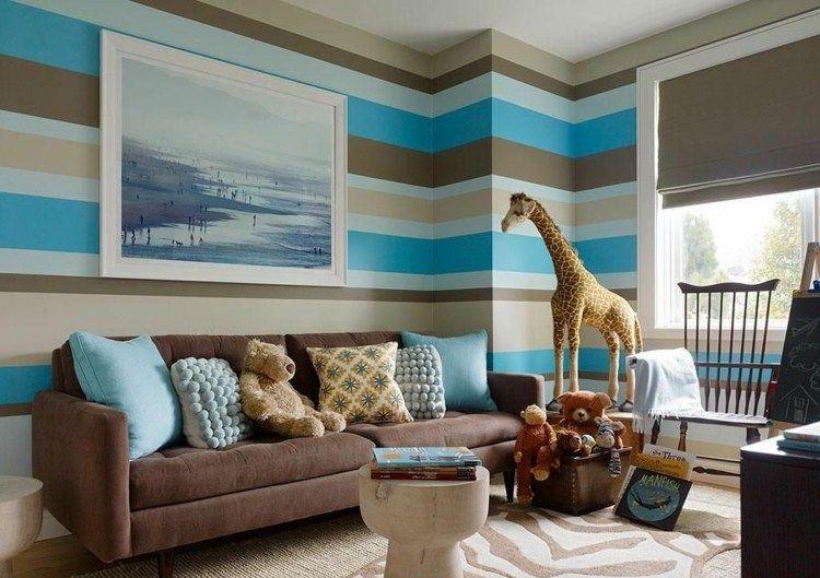Genial Farben Für Wohnzimmer   Ein Streifenmuster Aus Beige, Braun Und Blau