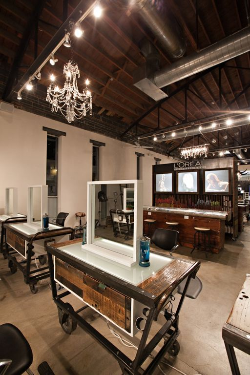 Love The Color Bar And Ceiling Hair Salon Interior Rustic Salon Hair Salon Design
