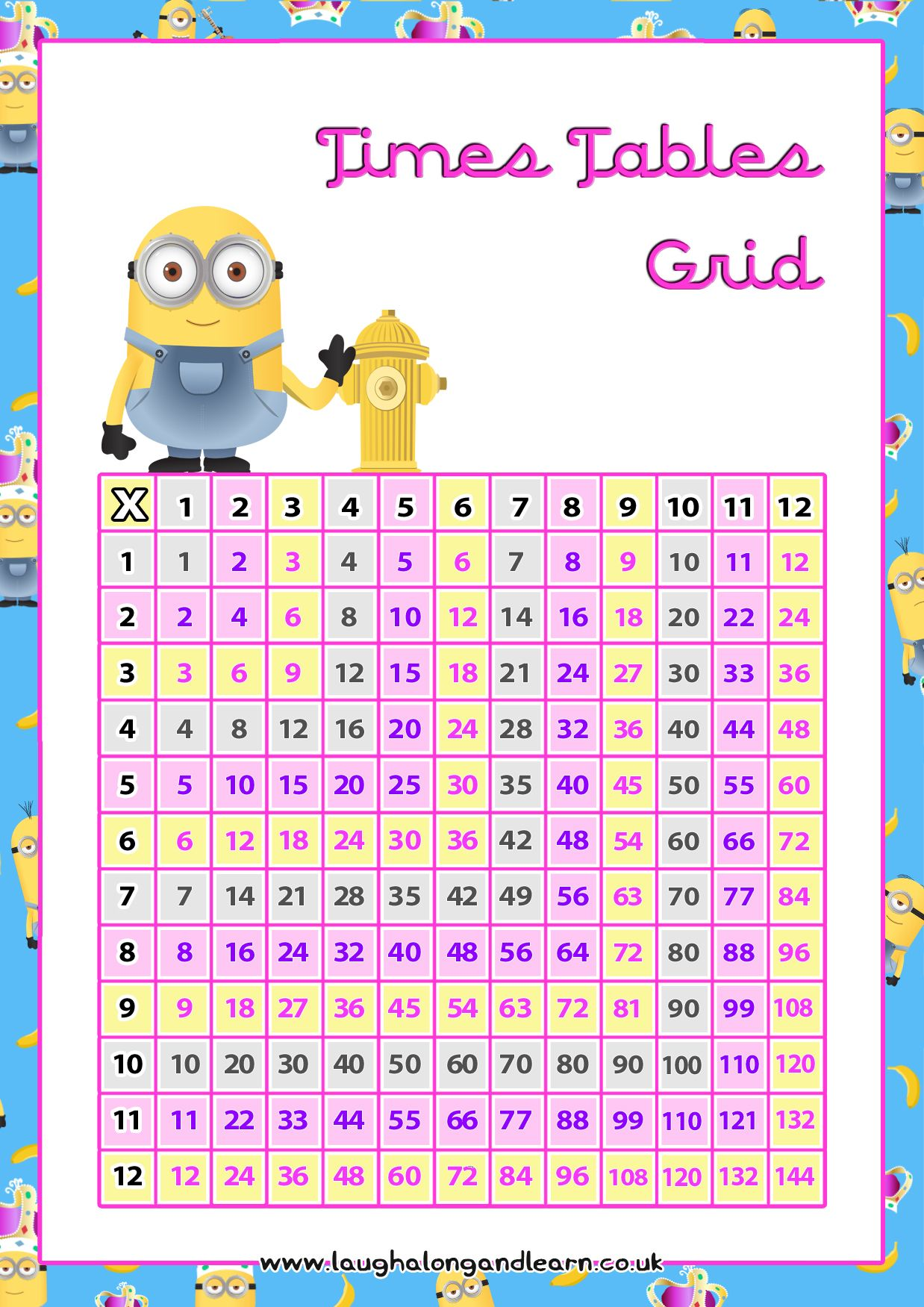 Download Your Free A4 Times Tables Grid By Laugh Aong
