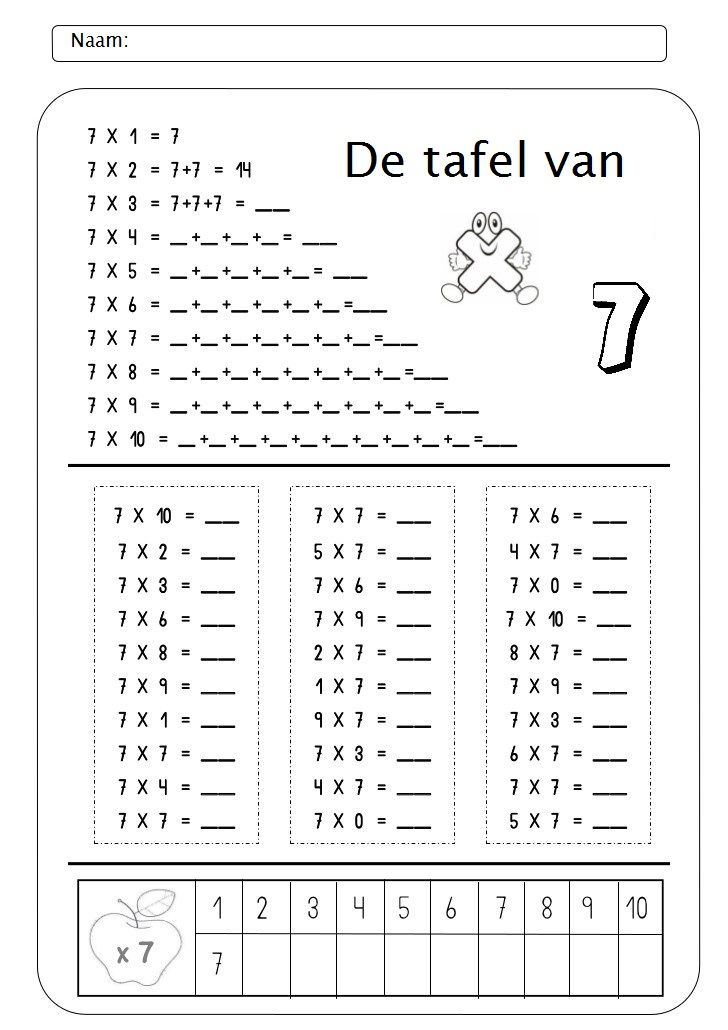 Werkblad tafel van 7 inmultiri pinterest for Table de multiplication par 7