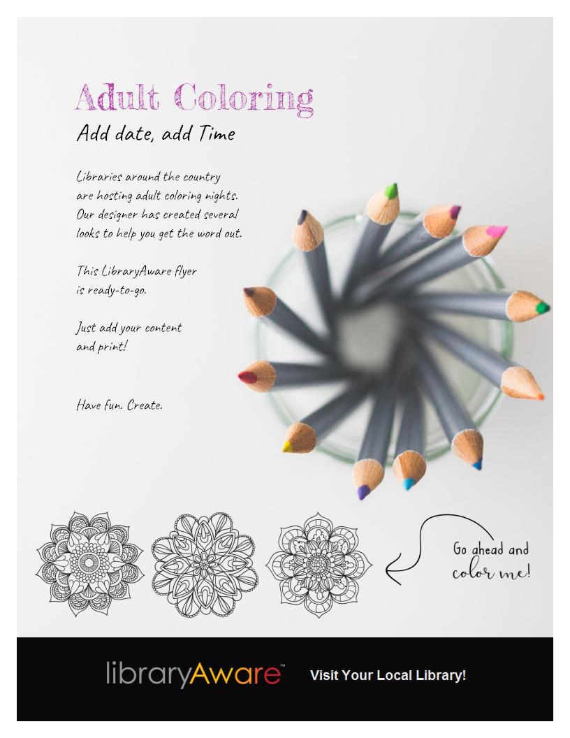 libraryaware s adult coloring flyer template is sure to get the libraryaware s adult coloring flyer template is sure to get the word out about your program