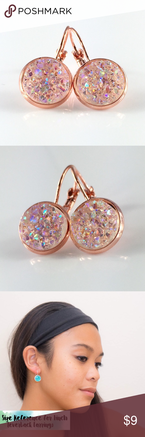 Light peach crystal faux druzy rose gold earrings Handmade by me Chunky light peach crystal with faux druzy 1 inch rose gold tone frenchback earrings. Lightweight. Bundle & save 15%. Price FIRM if buying 1 pair. Each piece varies slightly in shape. Made of acrylic resin. #drusy #druzy #druzyearrings 🚫 thejeweladdict Jewelry Earrings