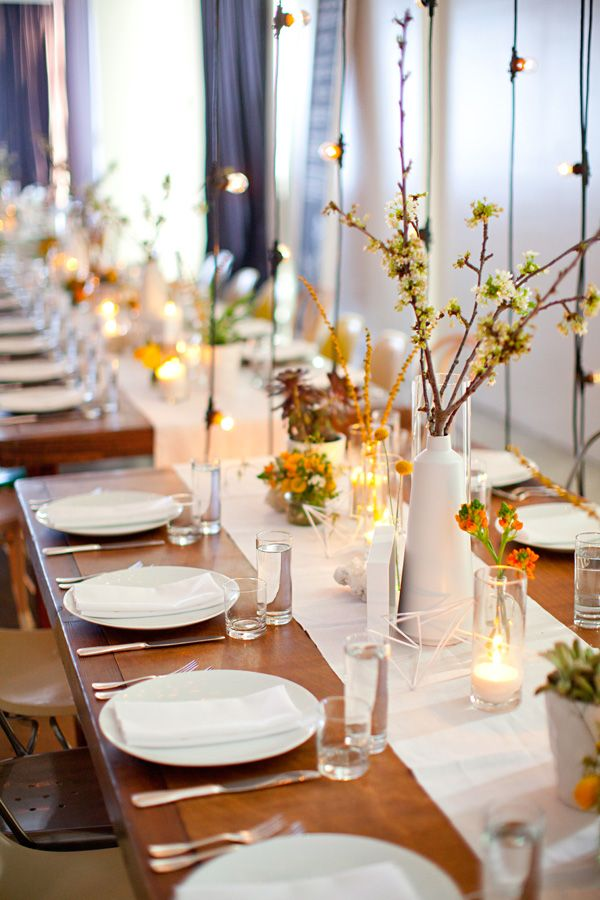 modern wedding centerpieces by Bash, Please // photo by BirdsofaFeatherPhoto.com
