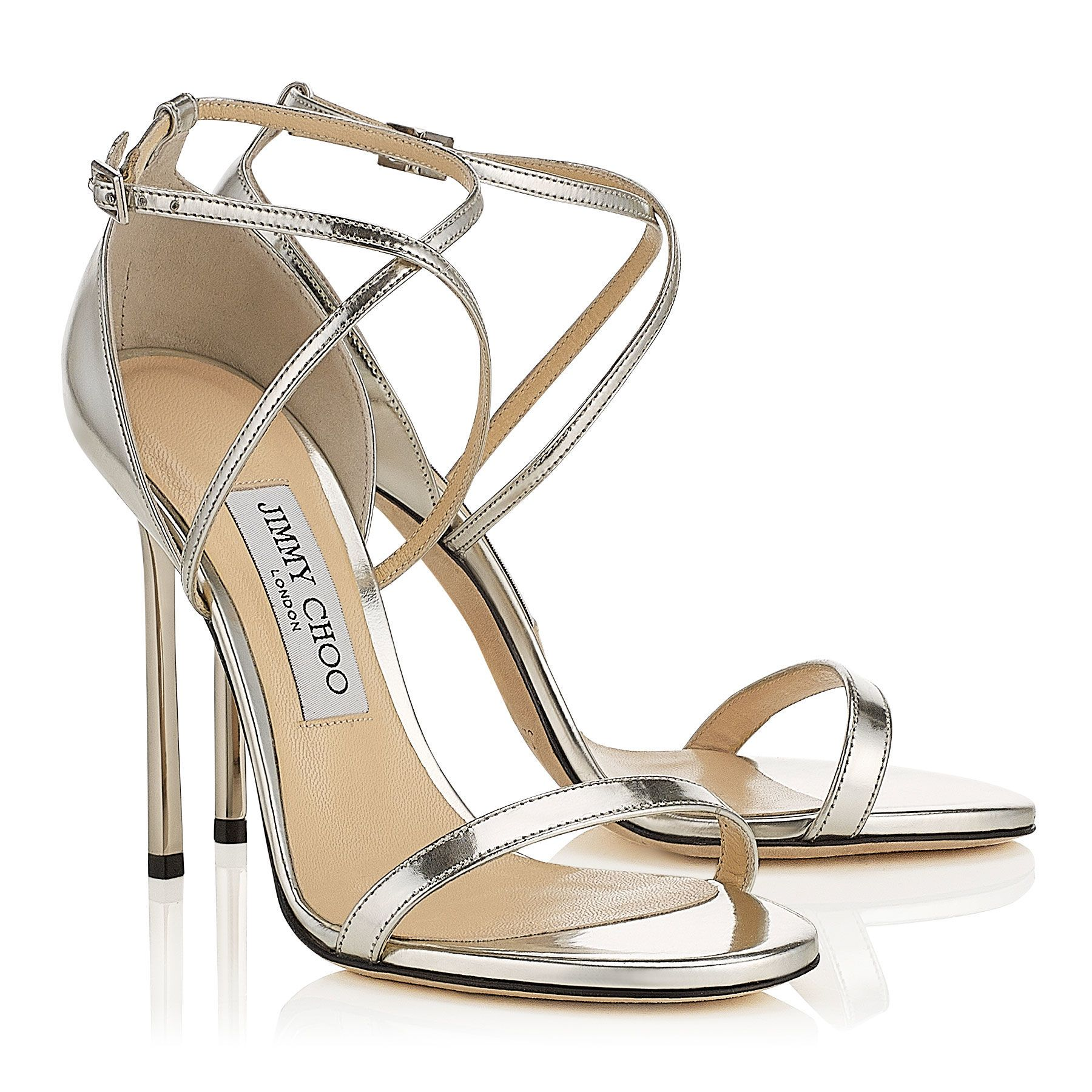 b3c54b943e4 Silver Mirror Leather Sandals