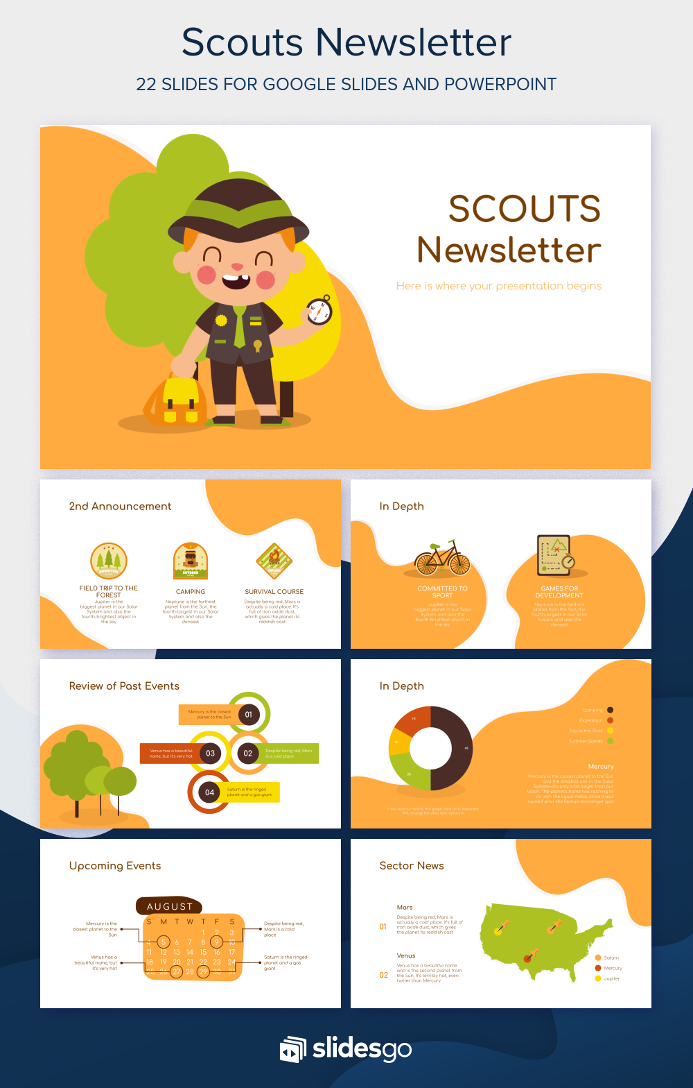 Earn Your Scout Badges With This Awesome Free Newsletter Template That You Can Easily Customize Presentation Template Free Powerpoint Presentation Design Scout