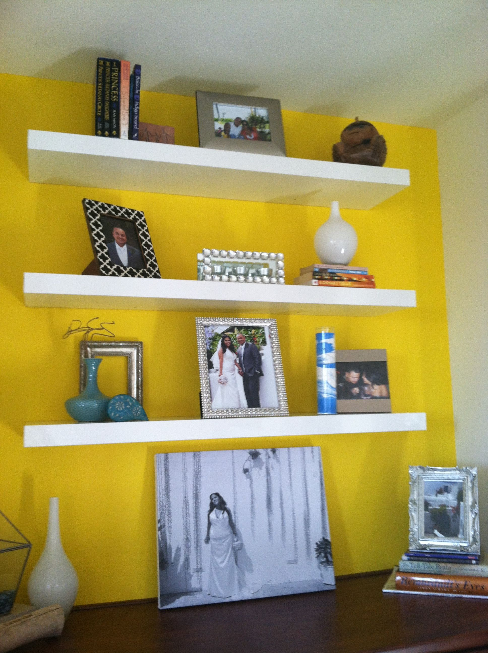 Yellow accent wall w/ floating shelves! | Inspiration | Pinterest ...