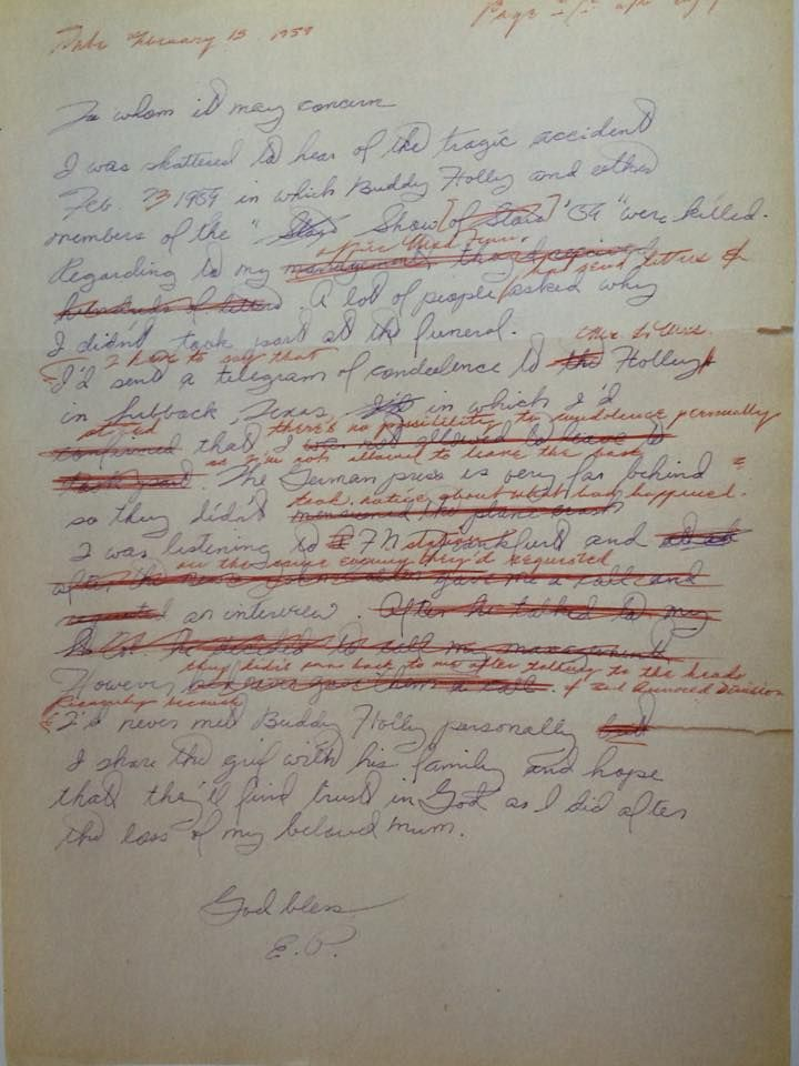 "A letter written by Elvis on hearing the death of Buddy Holly, the Big Bopper and Richie Valens. This photo is captioned ""the letter was badly edited, probably by Vernon""."