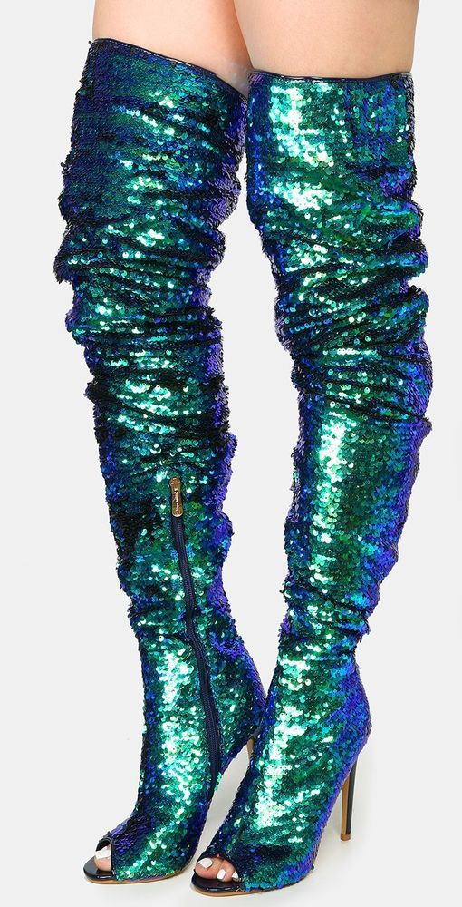 0325fa44523d Julia-1 Thigh High Over Knee Sequin Sparkle Open Toe Stiletto Heel Boot  Hologram #CR #OverKneeBoots