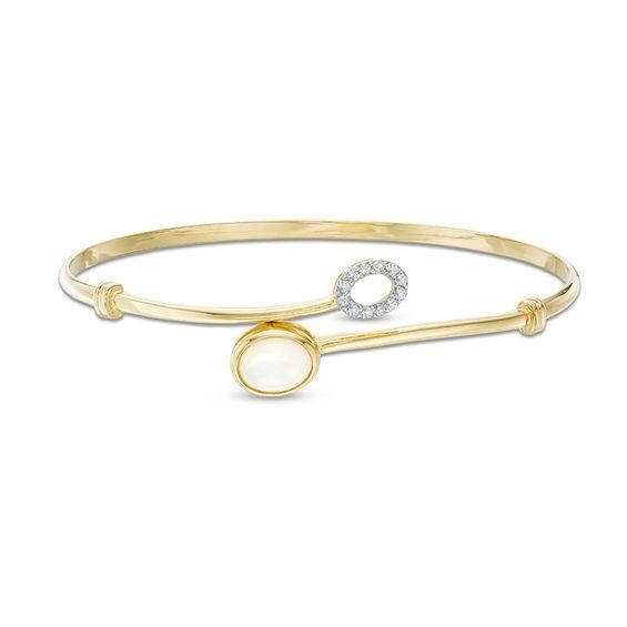 Zales 8.0mm Heart-Shaped Mother-of-Pearl and White Topaz Bypass Bangle in Sterling Silver with 14K Gold Plate xh2i1o61x