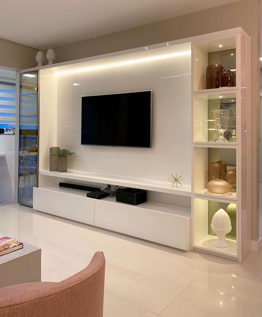 Pin Em Tv Rooms Tall Ceiling Living Room Living Room Tv Unit Designs Tv Room Design
