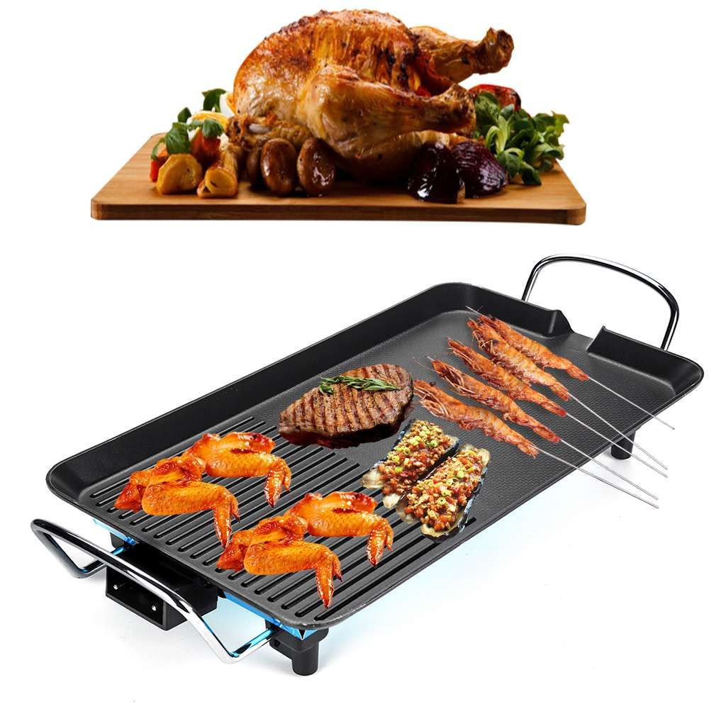 2 In 1 Electric Barbecue Grill Teppanyaki Cook Fry Pan BBQ