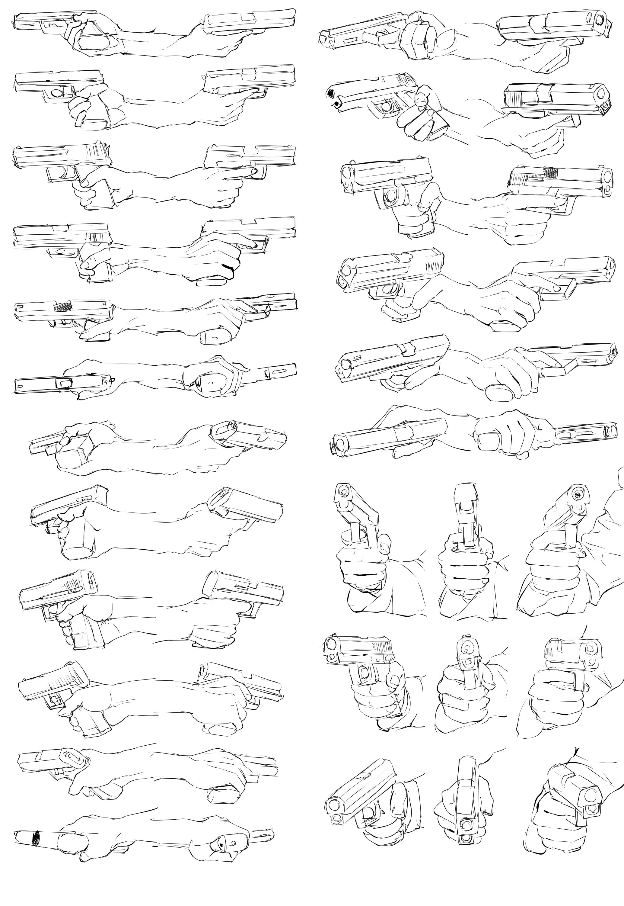 how to draw a hand holding a gun human anatomy drawing