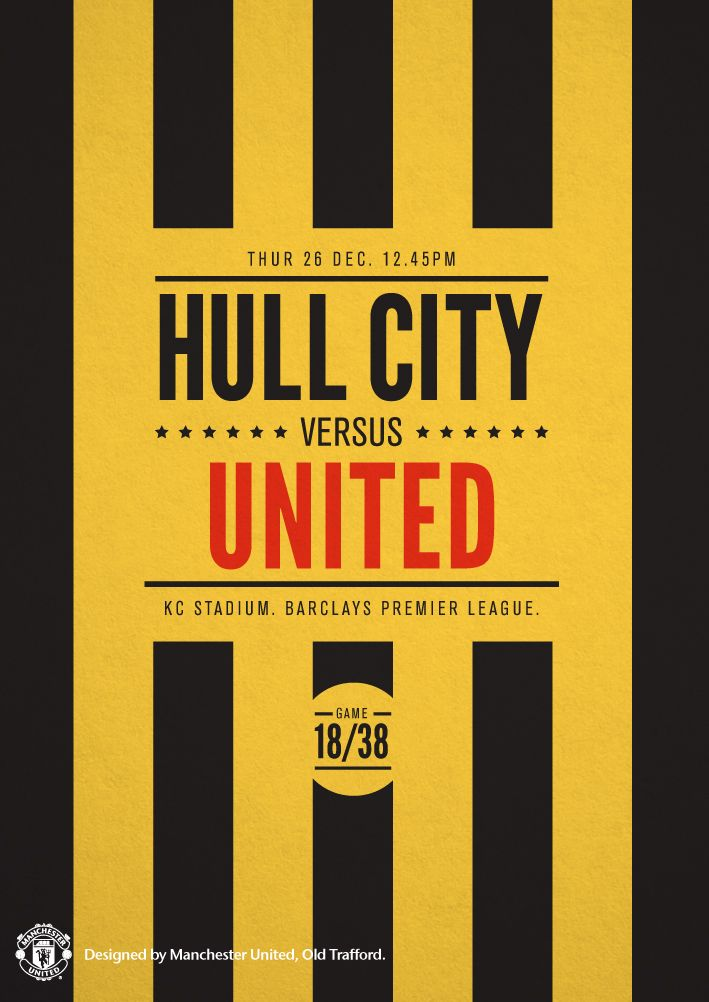 Most Beautiful Manchester United Wallpapers Black Match poster. Hull City vs Manchester United, 26 December 2013. Designed by @manutd.