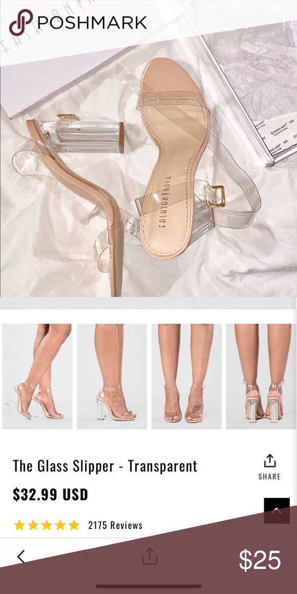 50b764ebea1 The glass slipper Transparent Clear straps 4 inch heel Normal wear ...