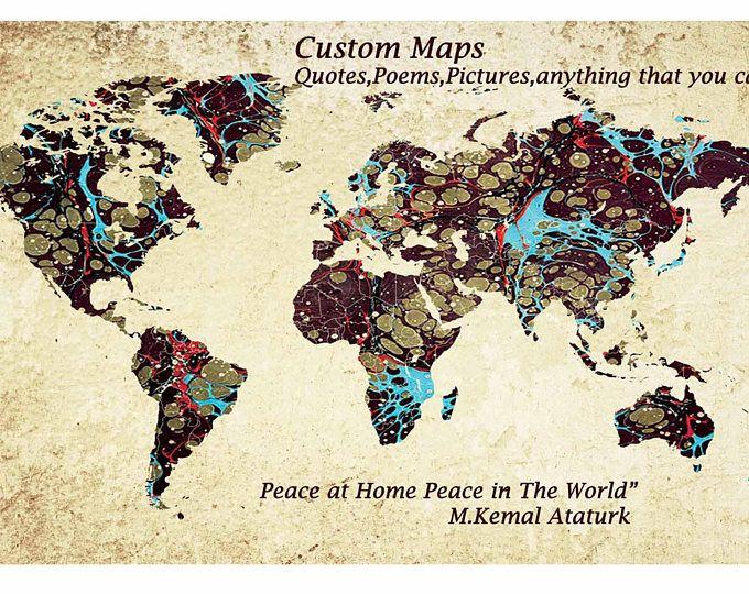World mapcustom world maplarge world map wall art custom canvas art decor world map gumiabroncs Image collections