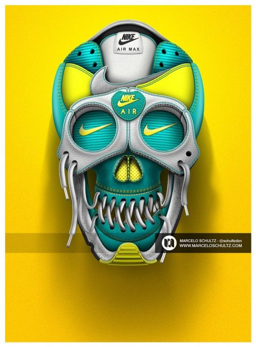 more photos a1cf1 00fa8 These Illustrations Transform Nike Shoes into Skulls   Skull   Nike ...