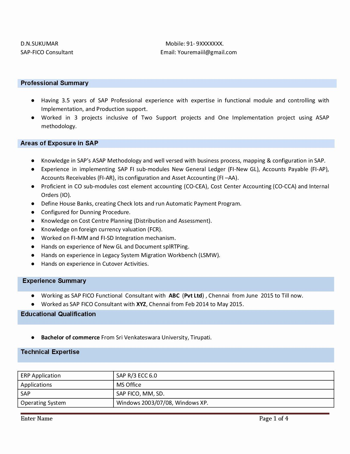 5 Years Experience Resume Luxury Sap Fico Resume With 3 Years Experience Instant Download In 2020 Good Resume Examples Resume Digital Marketing Manager