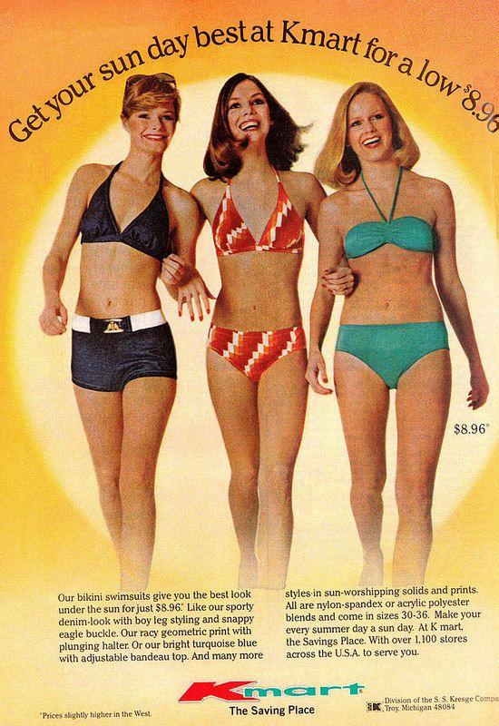 1977 Fashion Ad, New Summer Bikini Swimsuits, Kmart ...