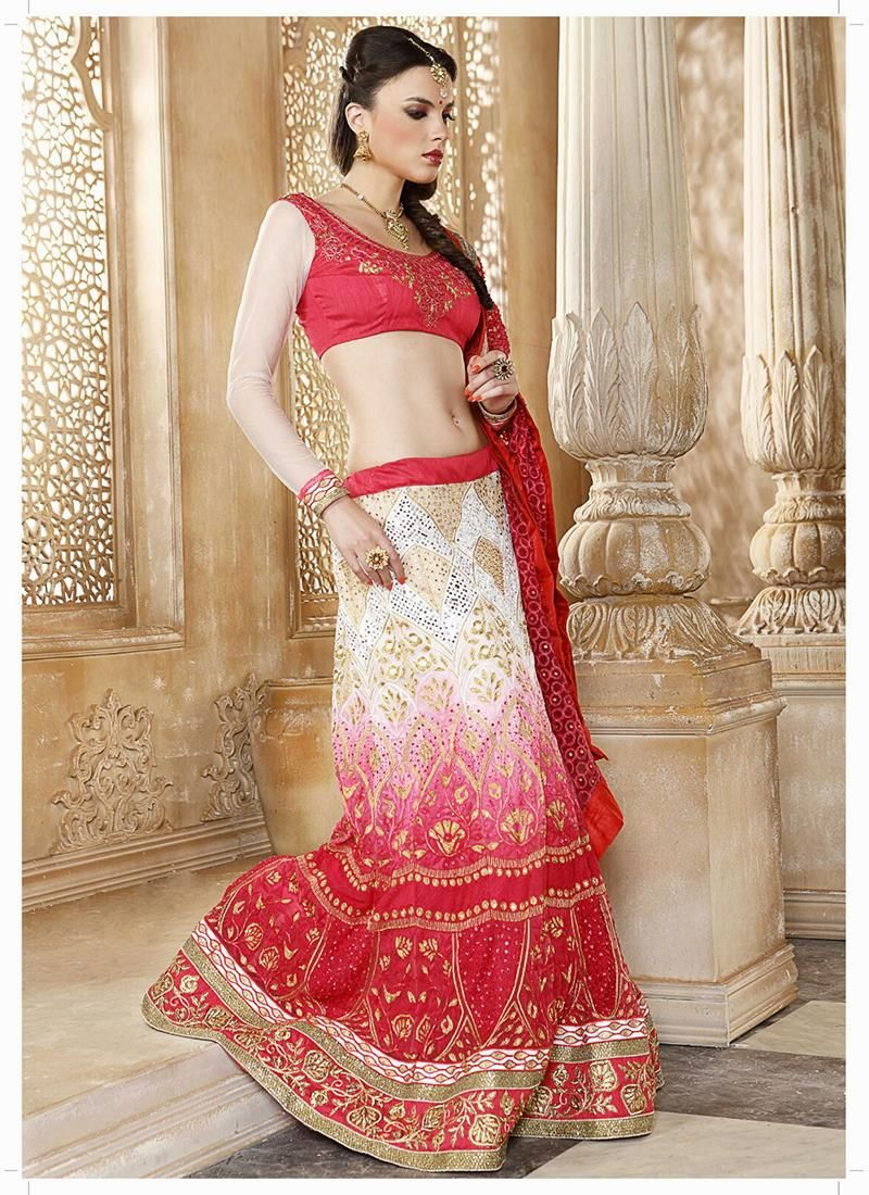 Precious patch border work hot pink and off white net a line lehenga