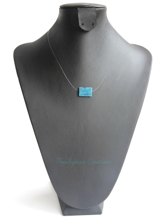 collier ras de cou pierre bleu