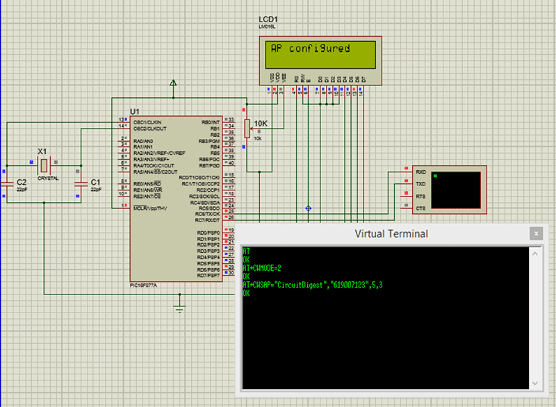 Simulation of Interfacing PIC16F877A with ESP8266 | Microcontroller