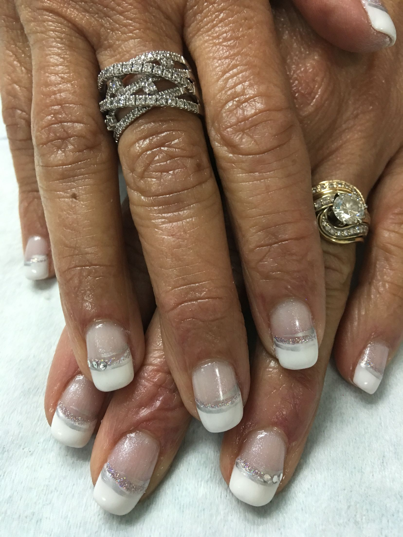Mother Of The Bride White French Accented Bling Rhinestone Gel Nails Bride Nails Wedding Nails Wedding Nails For Bride