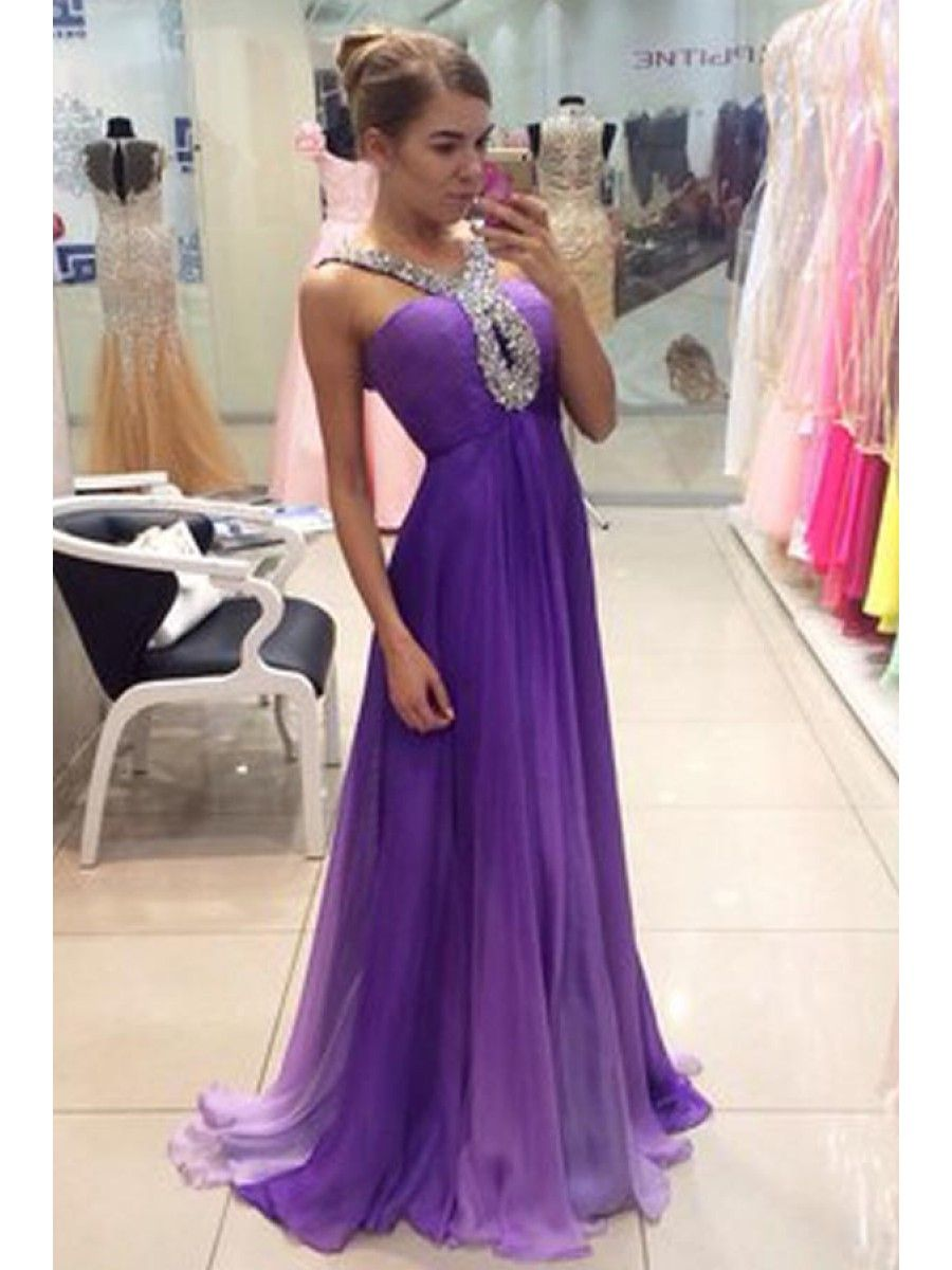 Long Purple Beaded Prom Formal Evening Party Dresses 996021474