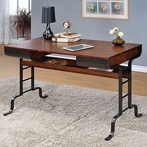 Industrial Style Computer Desk With Two Drawers Antique Oak & Antique Brass  | home hacks | Pinterest | Industrial style, Antique brass and Drawers - Industrial Style Computer Desk With Two Drawers Antique Oak