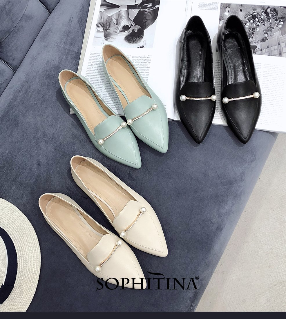 SOPHITINA Popular Pearl Women's Pumps High Quality Genuine Leather Casual Slip-On Shoes Sexy Elegant Pointed Toe Lady Pumps PO82