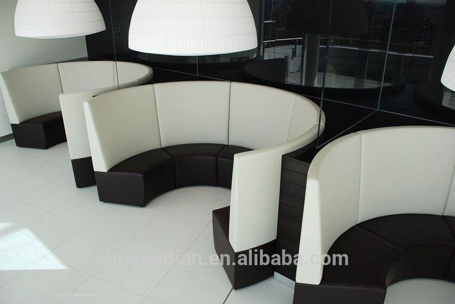 Circle Sectional Sofa Bed 3 Seat Cover Round Design Restaurant Leather Booth | Lounge ...