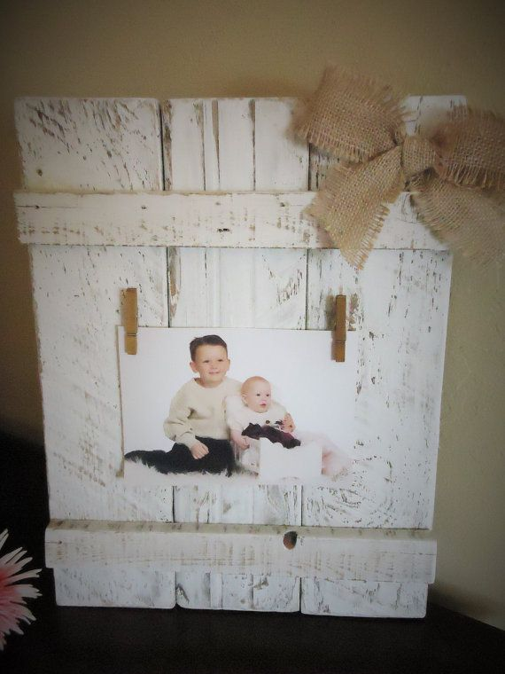 Pallet Sign Picture Frame White and Brown Rustic Photo Holder with ...