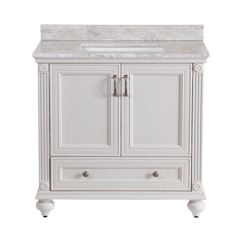 Home Decorators Collection Annakin 36 In W X 34 In H X 22 In D Bath Vanity In Cream With Stone Effects Vanity Top In Winter Mist Clsd36comwm Cr The Home De